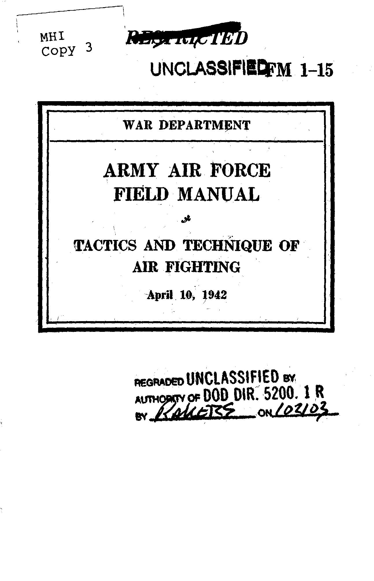 United States. War Department - FM 1-15 Tactics and Technique of Air Fighting