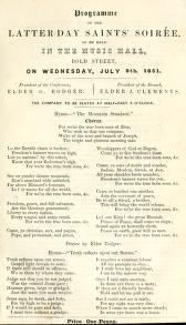 Programme of the Latter Day Saints' Soirée (1851)